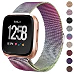 Milanese Metal Bands Compatible for Fitbit Versa Bands/Versa Lite Edition Bands for Women Men, Replacement Stainless...
