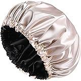 YANIBEST Bonnet en Satin Cheveux Ajustable, Bonnet de Nuit Satin Couche Double, Bonnet Souple pour Femmes et Filles