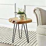 طاولة جانبية لايف إيدج من ويللاند مع أرجل بمسمارين شعر، طاولة جانبية طبيعية، حامل ليلي صغير، من الخشب بطول 39.37 سم