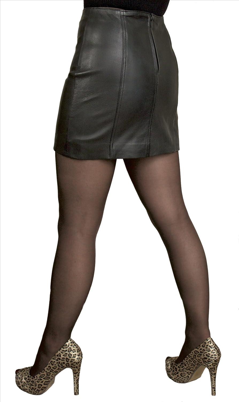 Short Soft Genuine Real Nappa Leather Mini Skirt (Length 14 ...