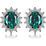 JewelryPalace Pendientes Princesa Diana William Kate Middleton Vintage Halo Piedra Preciosa Aretes Plata de ley 925