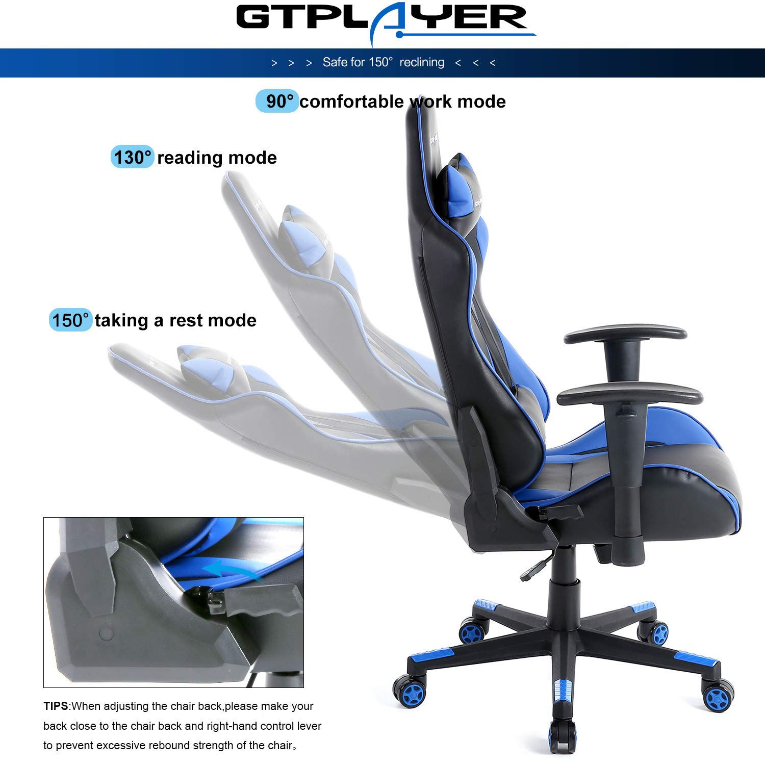 Super Gtplayer Gaming Chair Office Desk Computer Racing Pc Video Chair High Back Armrest Ergonomic Design With Adjustable Height And Lumbar Support 2 Years Pdpeps Interior Chair Design Pdpepsorg