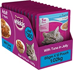 Whiskas Wet Cat Food, Tuna in Jelly for Adult Cats, 85 g (Pack of 12)
