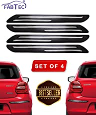 Fabtec Rubber Car Bumper Protector Guard with Double Chrome Strip for Car 4Pcs - Black (Universal)