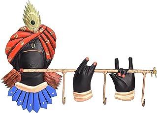 JaipurCrafts Wrought and Cast Iron 3 Hooks Lord Krishna Key Holder, Multicolour (10x7-inch)