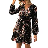 DIDK Women's Elegant Long Sleeve Floral Dresses Short Knee-Length Party Dress Casual for Autumn Spring