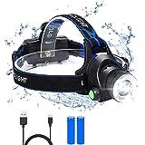 Flintronic Led-hoofdlamp, 3 Standen, Superheldere Led-hoofdlamp, Oplaadbaar, USB-hoofdlamp, Kinderhoofdlamp, Zeer Helder, Wat