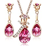 Rose Flower Jewelry Sets for Women Mother's Day Jewelry Gifts 18K Rose Gold/White Gold Plated Necklace Earrings Set Embellish