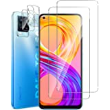 GEEMEE For Realme 8 Pro Screen Protector Film + Camera Lens Protector,【2 Pack+2 Pack 】 9H Hardness Tempered Glass Protective