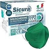FFP2 mascherine colorate VERDI Certificate CE Italia Made in Italy BFE ≥99% Mascherina Colorata VERDE medicale SANIFICATA e s