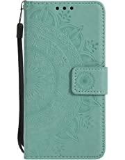 Lomogo Flower Totem Samsung Galaxy S9+ (S9 Plus) / G965 Case Leather Wallet Case with Kickstand Card Holder Shockproof Flip Case Cover for Samsung Galaxy S9+ (S9Plus) - LOHHA10645 Green