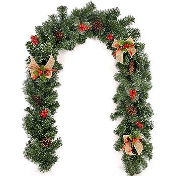 Decorazioni Natalizie Pigne.Lovestory Eu 1 8m 2 7m Ghirlanda Di Natale In Rattan Decorazioni