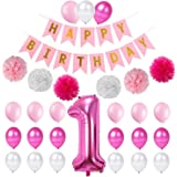 Party Propz Princess First Birthday Latex Party Supplies, 23 Piece, Pink