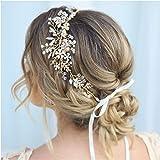 SWEETV Gold Braut Haarschmuck Hochzeit Blume Kristall Stirnbänder Haarband Diadem Tiara