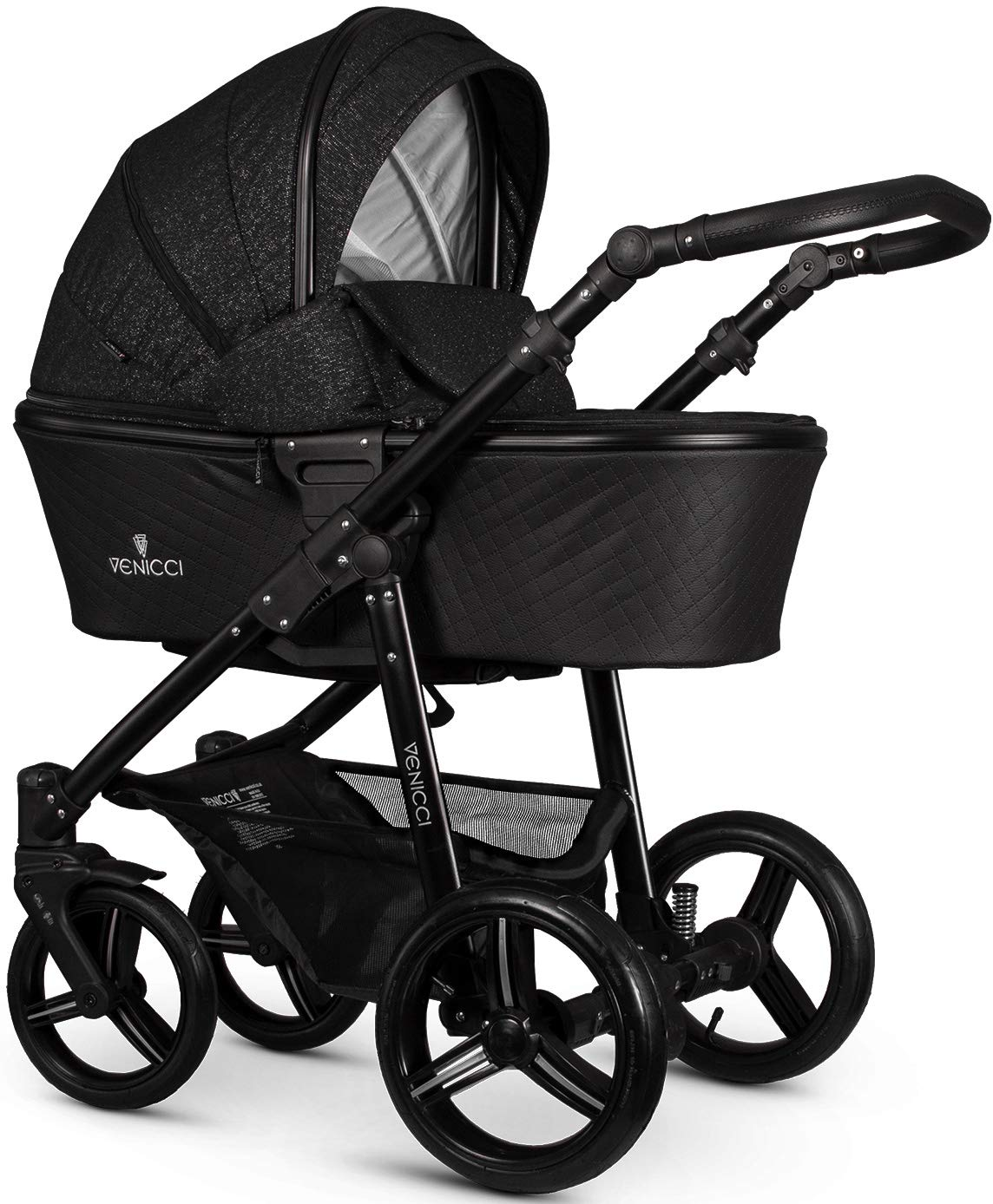Venicci Shadow 2-in-1 - Starlight Travel System Venicci Also includes: Changing bag, Apron, Rain cover, Mosquito net, Cup holder Carrycot: L 102cm W 61cm H 112 cm Age suitability: From birth to 6 months Seat unit: L 95cm W 61cm H 112cm Age suitability: From 7 to 36 months 1