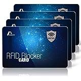 Amazy Protezione rfid nfc (4 pezzi) con segnale di avvertimento LED incl. Etichetta bagaglio - Rfid protection card 100% prot