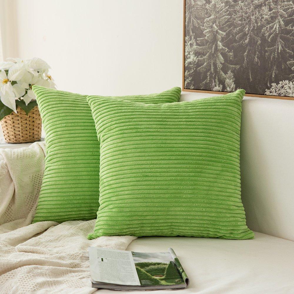 MIULEE Confezione da 2 Fodere in Velluto a Coste Decorative Copricuscini  per Divano Camera da Letto e Auto 50x50cm Verde Mela | CasaMe