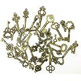 Llaves Antiguas de Bronce 40 piezas Antiguo Llave Rústica Mezclado Encantos de Llaves Vintage para la Decoración de La Boda F
