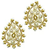 ADIVA Traditional Non-Precious Metal Copper and Pearl Kamal Earrings for Women & Girls