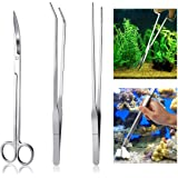 Meiso - Kit di utensili per acquario, in acciaio inox, per acquario, acquario, acqua, piante, pinze per utensili da…