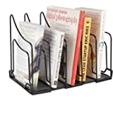 Callas Heavy-Duty 5 Sections File Rack, Book Rack, Bookend Desk Organizer, Black, CA17354
