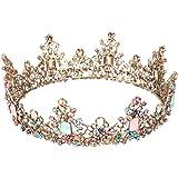Minkissy große barocke Krone, bunte Strass Kristall Runde Krone Vintage Bronze Legierung Tiara für Hochzeitsfeier Cosplay Geb