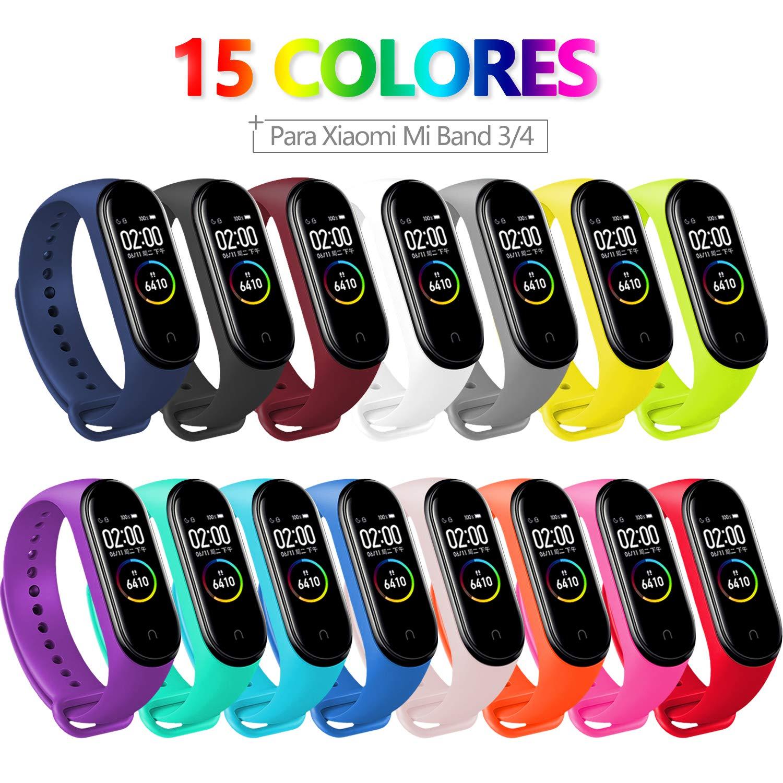 BANGTING 15 PCS Correa Compatible con Pulseras Xiaomi Mi Band 3/4, Correas para Fundas Mi Fit Band 4 My Band 3… 1