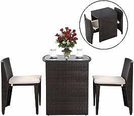 COSTWAY Rattanmöbel Polyrattan 3tlg. Gartenmöbel Lounge Set Gartenlounge Gartengarnitur Gartenset Sitzgruppe Sitzgarnitur inkl. Glasplatte und Sitzkissen