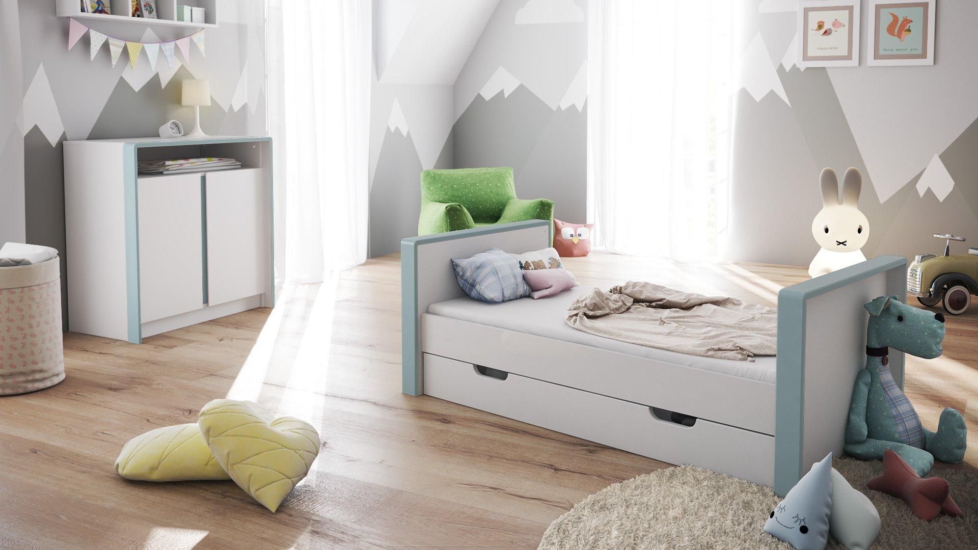 Baby Cot Bed Nandini with underbed drawer, Carcass in White matt, Skirtings in Denim matt  Vladon