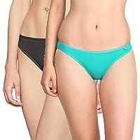 Jockey Women's Cotton Bikini Brief (SS02_Black & Jteal_Medium)(Pack of 2)