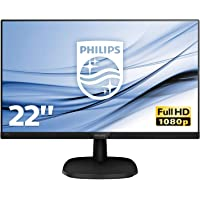 "Philips Monitor 223V5LHSB2 Monitor LCD-TFT per PC Desktop 21,5"" LED, Full HD, 1920 x 1080, 5 ms, HDMI, VGA, Attacco VESA, Nero"