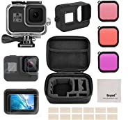 Accessories Kit for GoPro Hero 8 Black with Shockproof Small Case + Waterproof Case + Tempered Glass Screen Protector + Silic