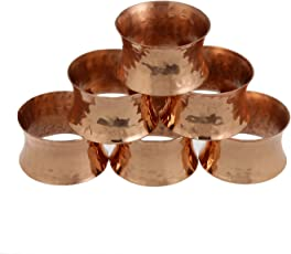 Shalinindia Copper Napkin Rings Hammered for Weddings,Dinners, Parties, or Everyday Use, Set of 6,Light Weight 35 Grams,Diameter-2 inch