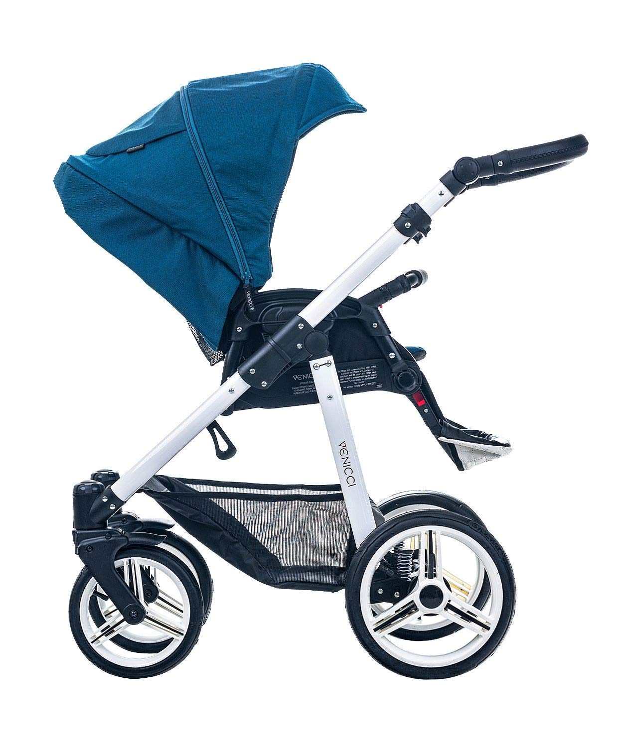 Venicci Pure 2-in-1 Travel System - Ocean Blue - with Carrycot + Changing Bag + Apron + Raincover + Mosquito Net + 5-Point Harness and UV 50+ Fabric + Cup Holder Venicci 2-in-1 Pram and Pushchair with custom travel options Suitable for your baby from birth until approximately 36 months 5-point harness to enhance the safety of your child 3