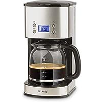 H.Koenig Cafetière Programmable à filtre Inox 1,5L (12 tasses) MG30, 1000W Carafe en Verre Gradué, Système Anti-Gouttes, Maintien au chaud, Ecran LDC, Arrêt automatique, Porte-filtre amovible lavable