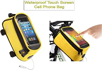 """Outdoor Water Resistant Bicycle Frame Bag Cycling Mountain Bicycle Bike Frame Panniers And Front Tube Bicycle Touchscreen Cell Phone Case Reflective Bag - Bicycle Accessories For Universal Cell Phone 5.5"""" (Size: Length- 19 Breadth-8 Height-10)By Shuban"""