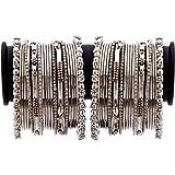 Zeneme Jewellery Traditional Silver Plated Oxidized Bracelet Bangles Set For Girls & Women