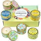 LA BELLEFÉE Coffret Bougie Parfumée de Cire de Soja pour l'Aromathérapie, Mariage, Anniversaire, Bain, Yoga (6 Bougies Fruité