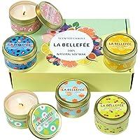 LA BELLEFÉE Coffret Bougie Parfumée de Cire de Soja pour l'Aromathérapie, Mariage, Anniversaire, Bain, Yoga (Coffret 6 Mini-Pots Bougie)