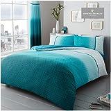 Gaveno Cavailia Luxe URBAN OMBRE Bed Set met Dekbedovertrek en kussensloop, Polyester-katoen, Teal, dubbel