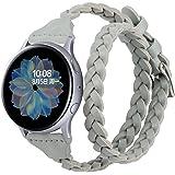 Glebo - Cinturino in pelle intrecciata, 20 mm, compatibile con Samsung Galaxy Watch 42 mm/Watch 3 41 mm/Active 40 mm/Active 2