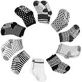 Yissvic Baby Socken, Anti Rutsch Babysocken 10 Paar Anti Slip Stretch Socken für 0-3 Jahre Baby Mädchen und Jungen Verpackung MEHRWEG