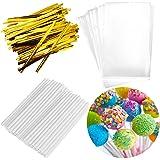 300PCS Lollipop Cake Pop Treat Bag Set Including 100pcs Parcel Bags, 100pcs Papery Treat Sticks, 100pcs Gold Metallic Twist T