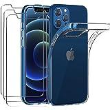iVoler Custodia Cover Compatibile con iPhone 12 Pro / iPhone 12 6.1 pollici con 3 Pezzi Pellicola Vetro Temperato, Ultra Sott