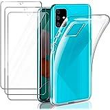 Leathlux Funda Compatible con Samsung Galaxy A51, 3 Pack Protector de Pantalla, Transparente TPU Silicona Funda y Cristal Vid