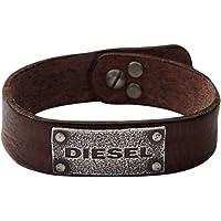 Diesel Bracciale da uomo, acciaio inossidabile e pelle DX0570040