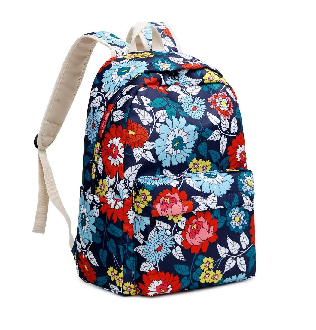 71ih7ETSCsL - Joymoze Mochila Escolar para Niña Adolescente con Bolsa Térmica para el Almuerzo y Estuche Flor Azul