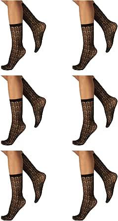 CALZITALY PACK 6 PAIA Calzini Traforati, Calzini Ricamati Donna, Calze Moda, Gambaletti Eleganti, Calze con Cinturino Comfort | Nero | Taglia Unica | 150 DEN | Made in Italy