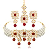 Peora Gold Plated Pearl Beaded Adjustable Choker Necklace with Earring Maang Tikka Jewellery Set