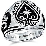 Stile antico inciso Buona fortuna giocatore d'azzardo Las Vegas Lucky Star Casino Elegante anello di vanga nero per gli uomin